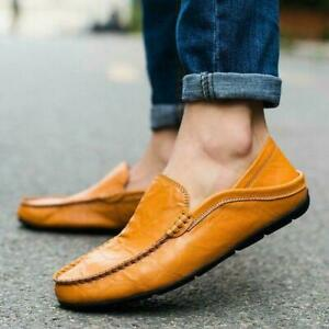 Autumn-Men-039-s-Leather-Loafers-Casual-Lazy-Driving-Moccasins-Shoes-Flat-Slip-on
