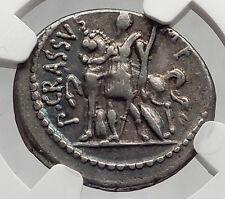 Triumvir Crassus Son Julius Caesar Lieutenant  Silver Roman Coin NGC chVF i61203