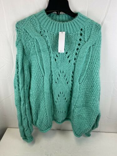 Green Mock Neck Sweater Soft 12 TOPSHOP Women/'s Size L