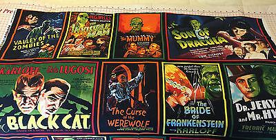 HALLOWEEN MONSTER Movie HORROR Poster Fabric PANEL Werewolf Dracula Mummy Zombie