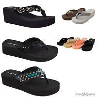 Thong Platform Heel Sandal Jewel Stud Design Open Toe Flip Flop Wedge Shoe