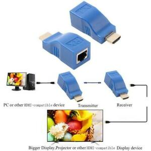 2Pcs HDMI Extender to RJ45 Over Cat 5e/6 Network Ethernet 4K 1080P Adapter A9C8