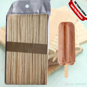 ICE CREAM STICKS FLAT NATURAL WOODEN STICKS FOR HOME MADE ICECREAM LOLIPOP CRAFT