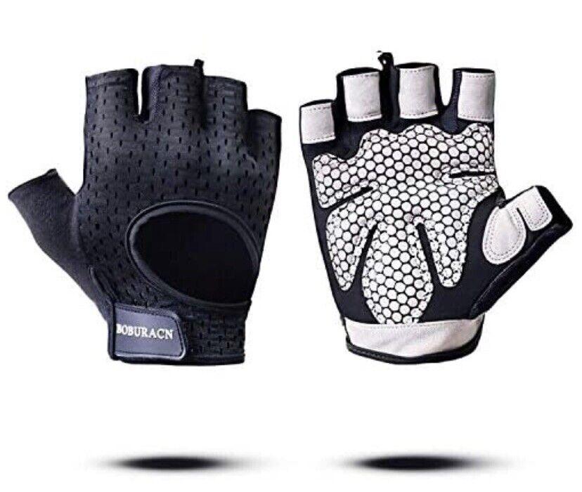 Boburacn Black Athletic Padded Workout Gloves Size Small