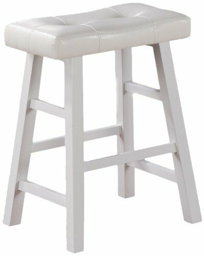 """24/""""H Set of 2 in White Finish with Faux Leathe Country Series Counter Stool"""