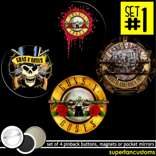 Guns N Roses SET OF 4 BUTTONS or MAGNETS or MIRRORS axl rose slash GNR pin #1492