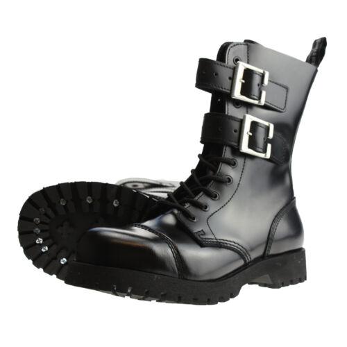 Boots and jambes 10-trou 2 Boucles Bottes des boucles gothique rangers NOIR NEUF