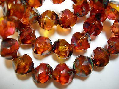 15 8mm Amber and Pink Travertine Firepolished Thru Cuts Czech Glass Beads
