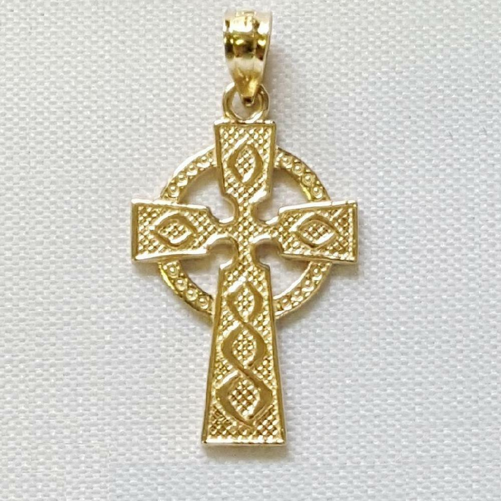 14K YELLOW gold CELTIC CROSS  Pendant   Charm, Made in USA