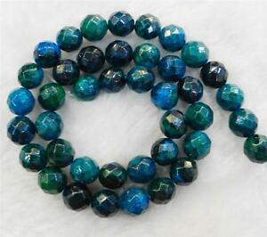 8mm-Faceted-Azurite-Chrysocolla-Gemstones-Round-Loose-Beads-15-034-Strand