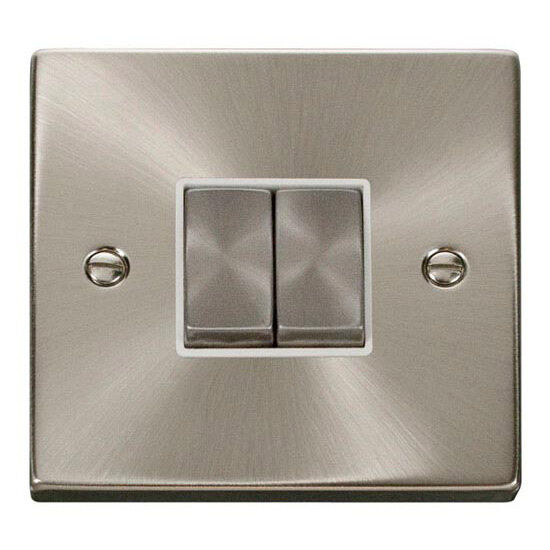 Click Deco 10 amp 2 gang 2 way Plate Light Switch Satin Chrome White - VPSC412WH