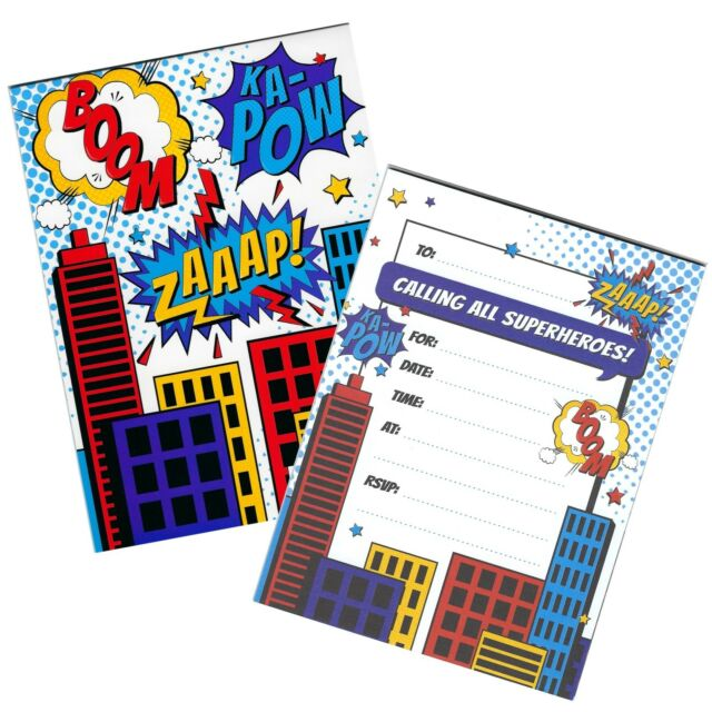 SUPERHERO BIRTHDAY PARTY SUPPLIES INVITATION PAD INVITES 20 SHEETS