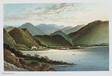 OLD ANTIQUE PRINT LAKE DISTRICT DERWENT WATER CUMBRIA c1891 by NELSON COLOUR