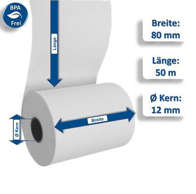 20 Thermorollen Kassenrollen passend für Epson 80//50//12 Thermo Bonrollen