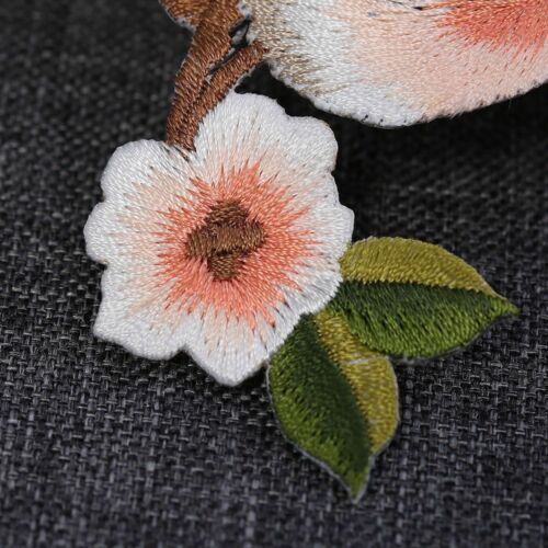 Flower Craft Sewing Embroidered Sew//Iron On Applique Patch Birds