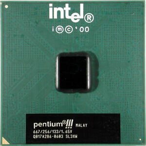 Intel-Pentium-3-III-667MHz-CPU-coppermine-133MHz-FSB-256KB-level-2-cache-SL3XW