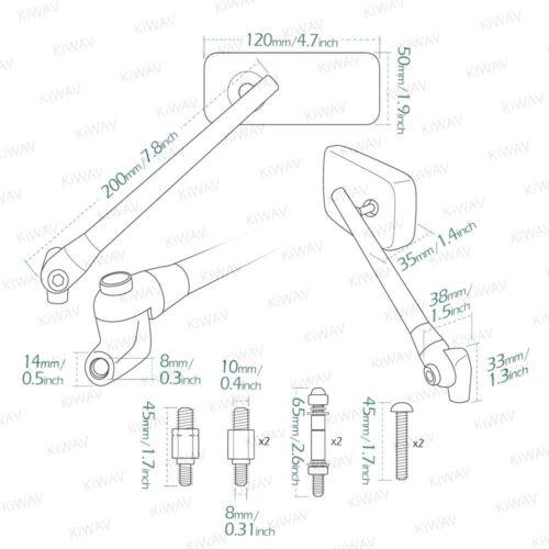 Chrome mirrors ClassicPlus rectangular convex for Suzuki M1800R Intruder GS500E