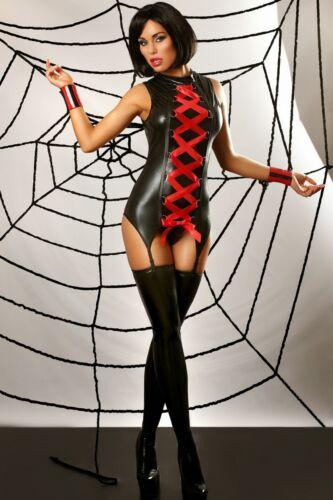 Wetlook Straps Kleid Mansion Reizwäsche sexy Dessous Clubwear GoGo Schwarz Rot
