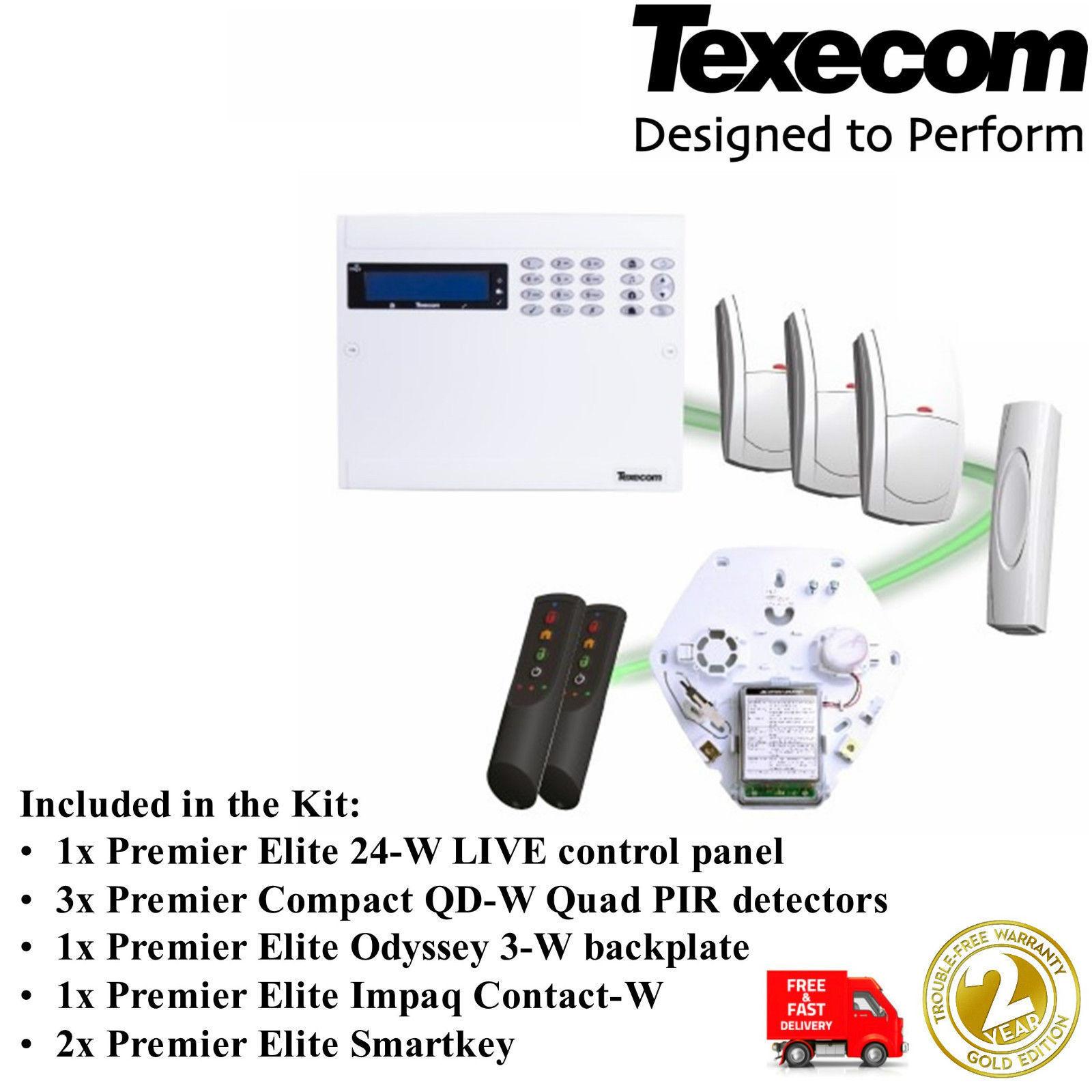 Texecom Premier Elite 24-W Live Kit-Panel, Teclado, 3xPIR, 2xKEY, 1 xdoor contacto Etc