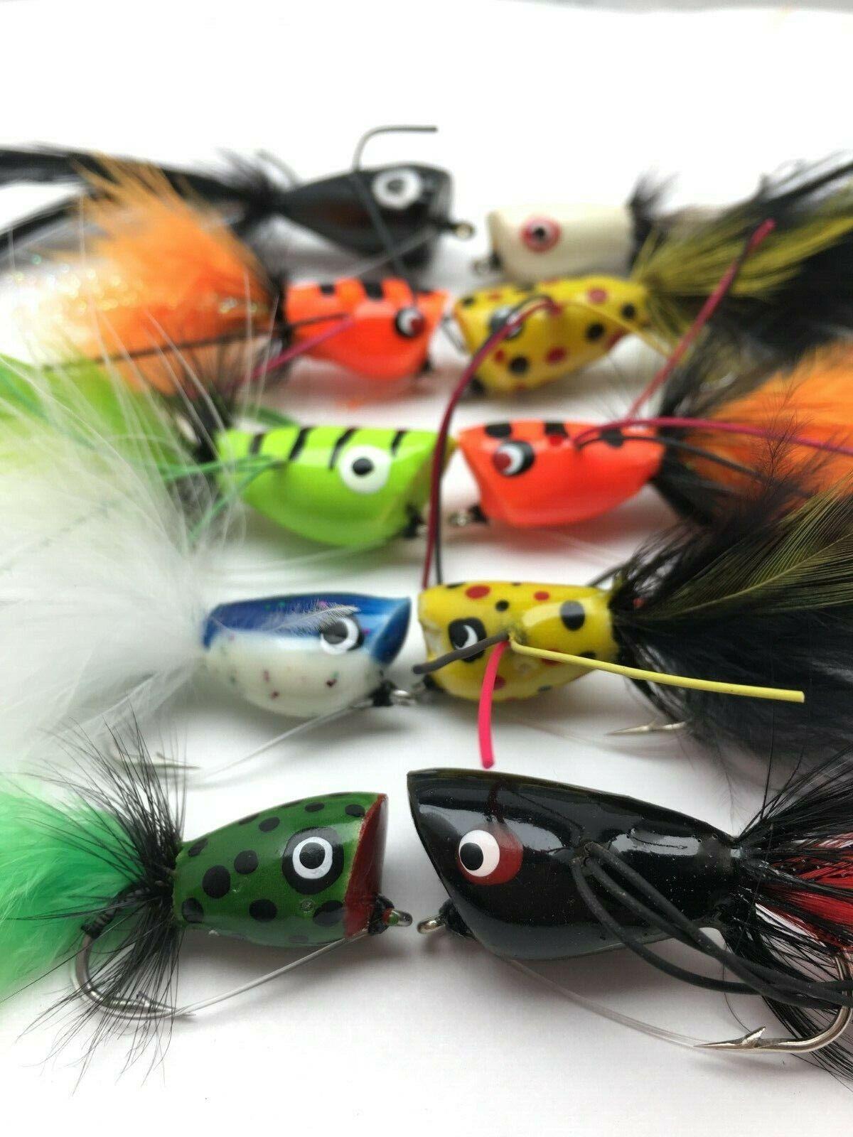 Fishing Bass Pike Flies POPPERS Size 4 Saltwater Bass Trout Perch Chub #320