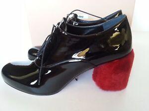 f1f30c91109 Details about NEW MIU MIU by PRADA Shearling Fur-Heel Patent Oxford Black  Red Shoes Sz 38