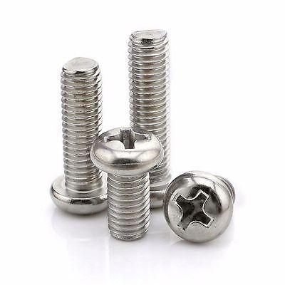 10X M6*8-100mm Round Pan Head Phillips Screws 304 Stainless Steel Machine Screws