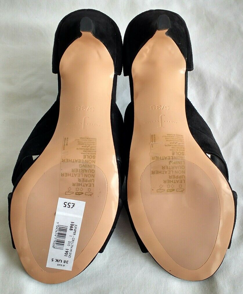 Jasper Jasper Jasper Conran Womens Ladies Black Suede Leather Sandals Size 5 6 7 New Black 2387a3