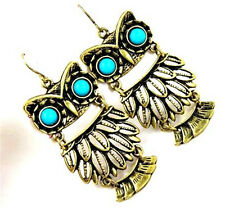 Vintage retro bronze owl charm dangle earrings