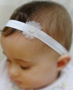 Baby Girl Pure White Christening Headband Baptism Wedding Bow Hairband