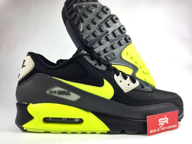 New Nike Air Max 90 AJ1285 015 Dark GreyVoltBlackLight Bone Running Shoes c1