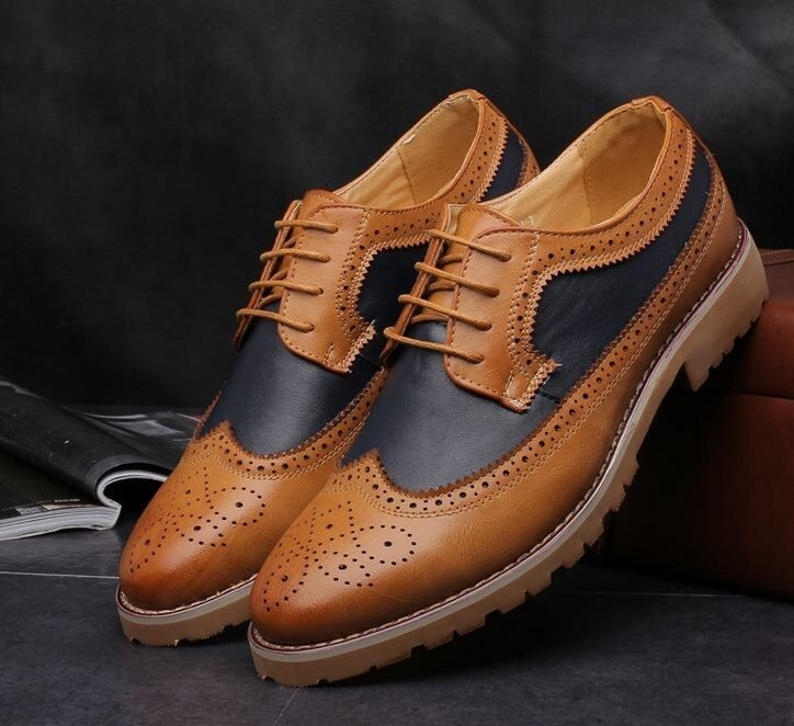 Men's Casual Dress Wingtip Lace Up Leather Brogue Formal Casual Oxfords shoes
