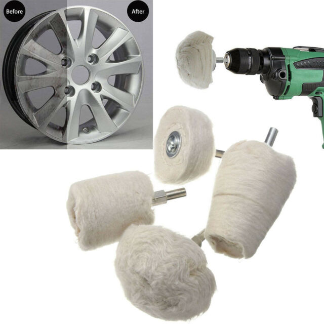 White Cotton Pad Polishing Buffing Wheel Rims Car Motorcycle Kit For Drill  4 Pcs