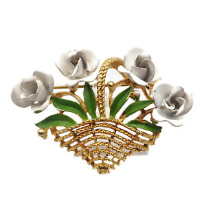 Vintage-Gold-Tone-White-Enamel-Basket-Of-Flowers-With-Green-Leaves-Brooch-Pin