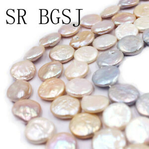 Natural-14mm-Coin-Freshwater-Pearl-Loose-Jewlery-Making-Beads-Strand-15-034