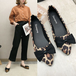 Womens-Ladeis-Bow-Knot-Pointed-Toe-Flat-Pumps-Slip-On-Leopard-Print-Boat-Shoes
