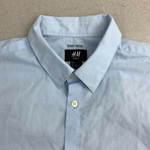 H-amp-M-Easy-Iron-Button-Up-Shirt-Mens-Large-Blue-Short-Sleeve-Casual