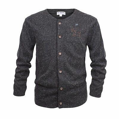 Trachtenjacke Trachten Strickjacke  Herren Jacke Sweater Hoodie Grau Schwarz Neu