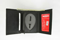 Id Holder Wallet Genuine Leather Black Cut Out Id Pocket Free Shipping