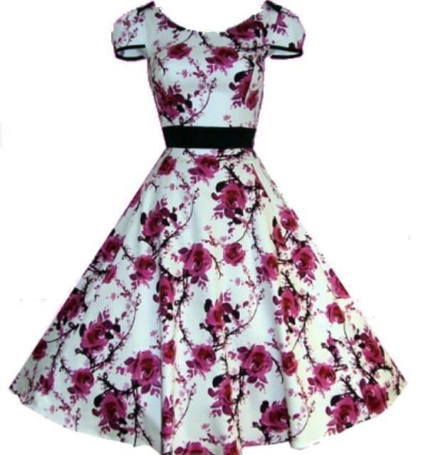 50s Rockabilly Formal Floral Swing Dance Pinup Vintage Dress AU size 10 - 26