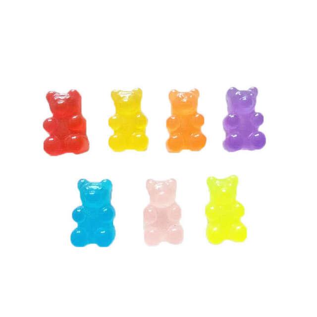 100Pcs Resin Candy Flatback Cabochon Miniature Qq Gummy Candy Cute Bear Des E4O7