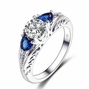 Echt-925-Silber-Ring-Saphir-Edelstein-Hochzeit-Damen-edlen-Schmuck-Geschenk-Neu