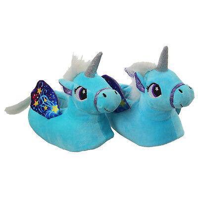Azul Niñas Novedad 3D carácter mágico Resbalón en Zapatillas De Unicornio Interior De Pisos