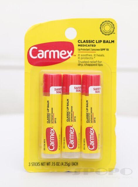 Carmex Classic Lip Balm Medicated Lip Protectant Sunscreen SPF15 (3 Sticks Pack)