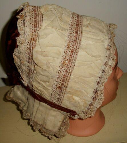 Actual Antique Victorian 1800's Cloth Bonnet