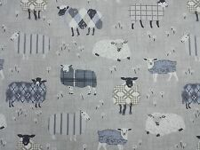 Baa Baa Sheep Charcoal Curtain Craft Upholstery Designer Fabric