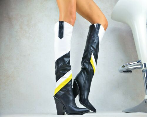 Neuf Designer Multicolore Chaussures Femme Cowboy-Western-Boots Bottines 36-41