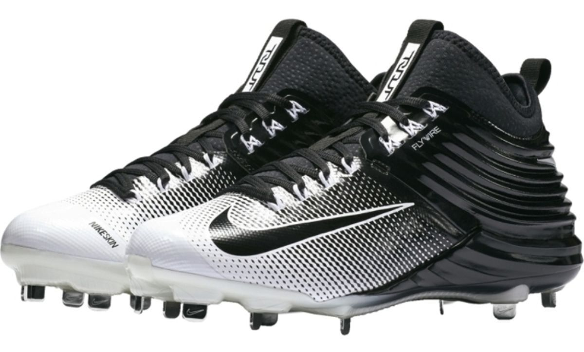 Mens NIKE Lunar Trout 2 White Pewter Flywire Baseball Metal Spikes Cleats 807127