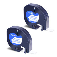 2pk Black On White Refill Plastic Label Tape For Dymo Letratag Lt100t 91331 12