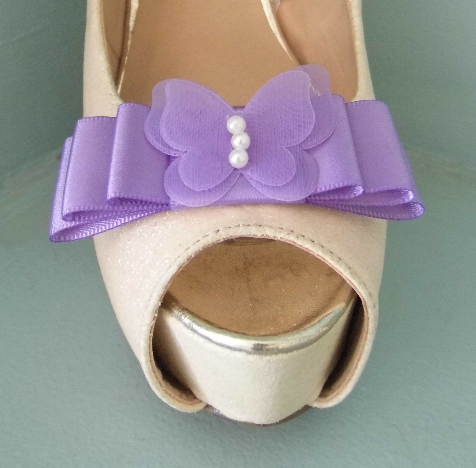 2 Lilac Bow Clips for Shoes with Delicate Butterfly Centre