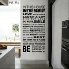 Quote We are Family In This House Wall Sticker inspirational Art decal decor